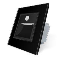 Lampa de veghe LED Livolo cu rama din sticla, Senzor miscare incorporat culoare neagra