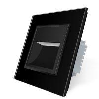Lampa de veghe LED Livolo cu rama din sticla culoare neagra