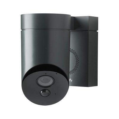 Camera de supraveghere de exterior Somfy, Wifi, 1080p Full HD, Sirena 110 dB, Posibila conexiune la corpul de iluminat existent – Gri