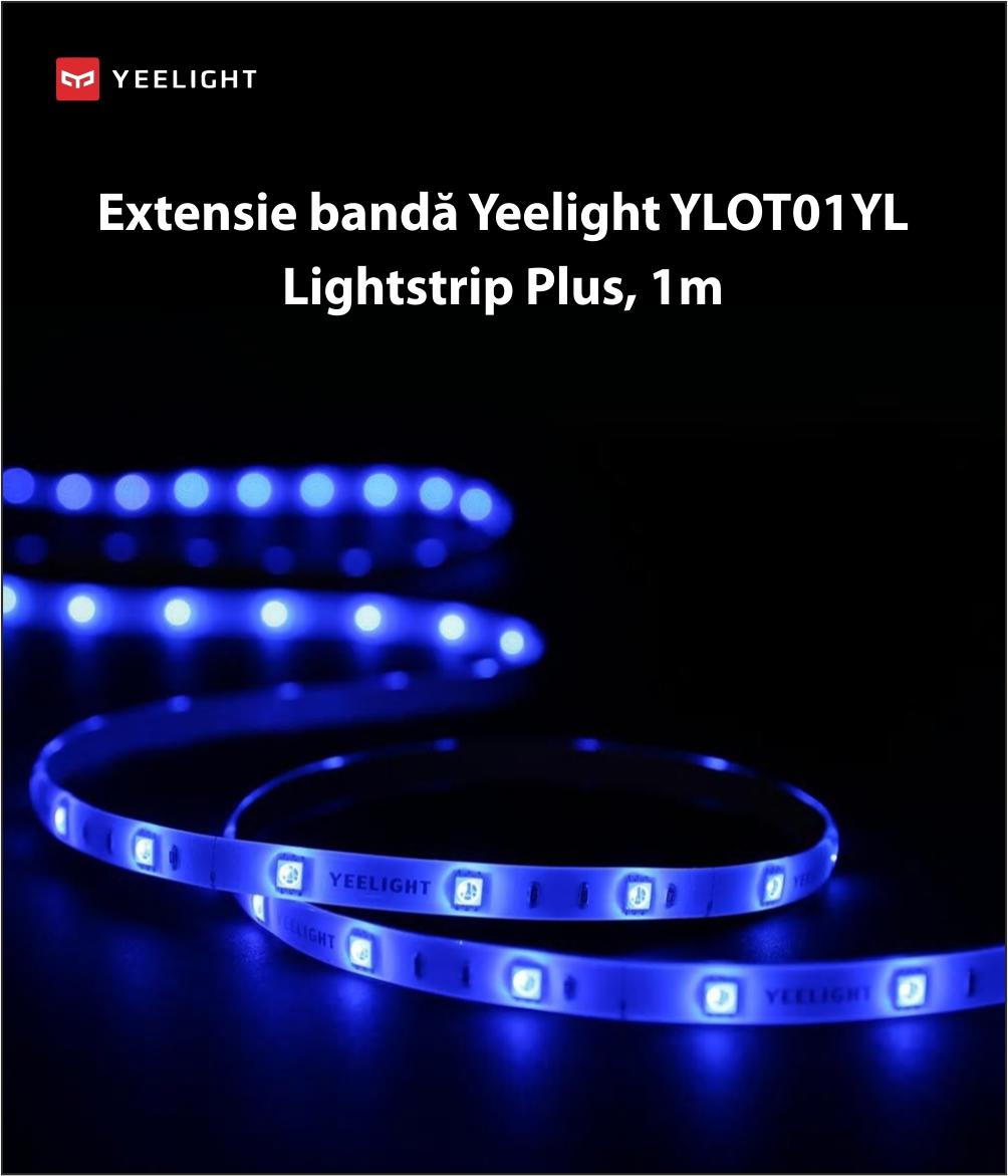 Extensie banda LED Yeelight YLOT01YL Lightstrip Plus, Smart, Multicolor, Lungime 1m, Wireless, 2.1W