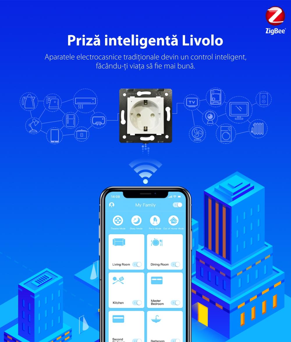 Priza inteligenta pentru perete Livolo ZigBee,16A, Wi-Fi, Compatibil cu Alexa si Google Home