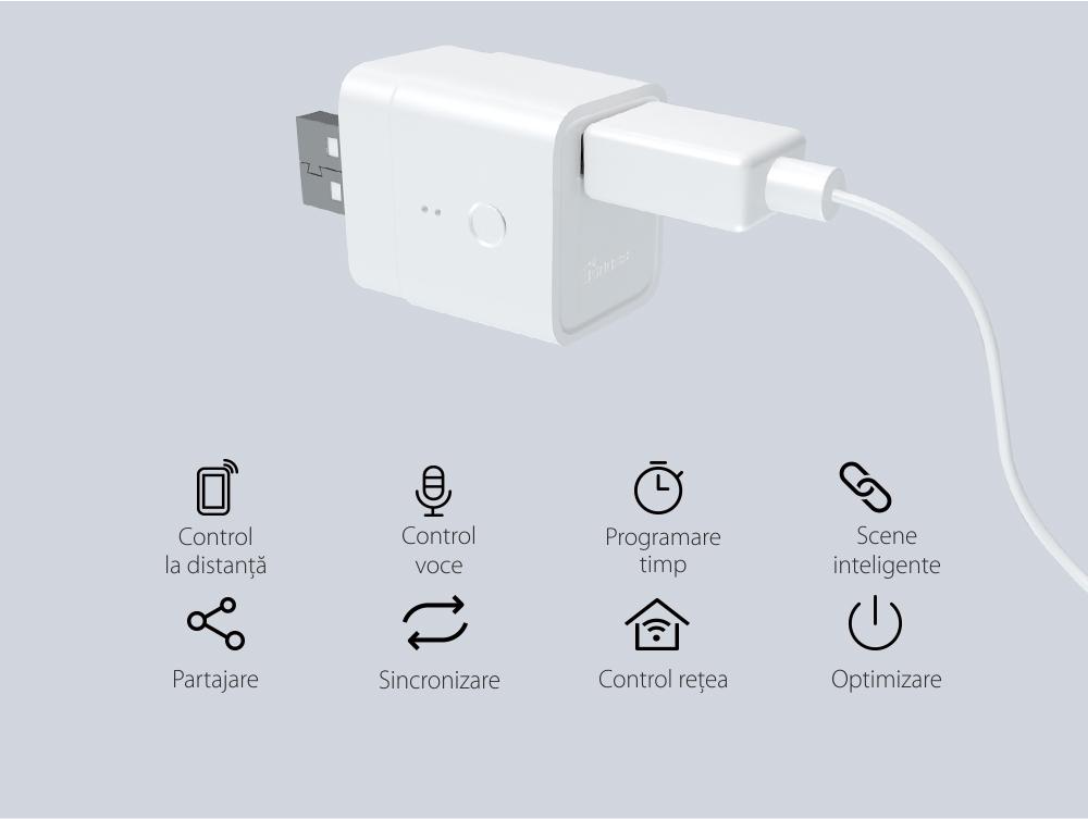 Adaptor USB Inteligent Sonoff, Micro, 5V, Wireless, Compatibil cu Google Home, Alexa & eWeLink