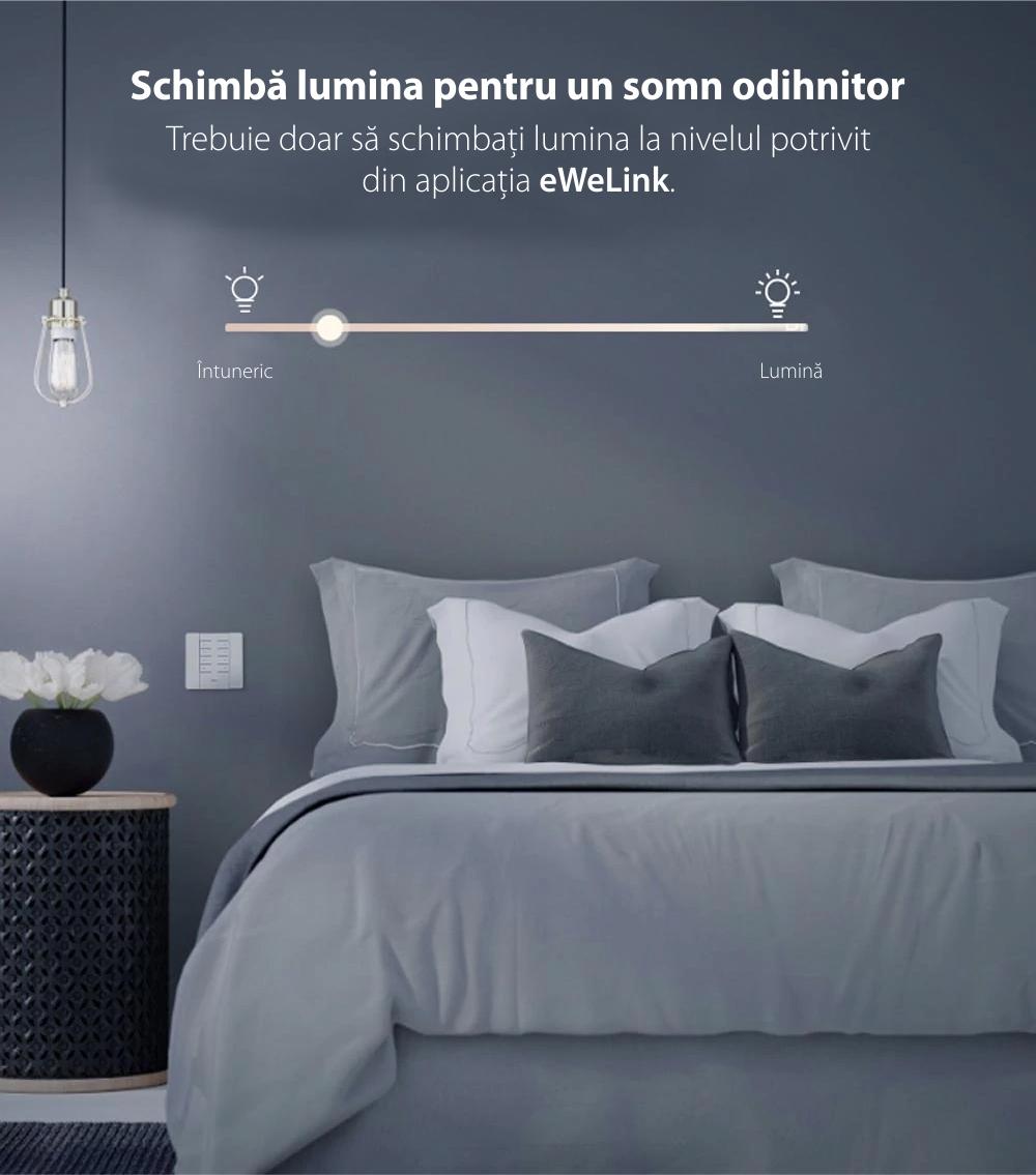 Intensificator inteligent de lumina Dimmer D1, Sonoff, Wireless, Control voce, Compatibil cu Google Home & Alexa