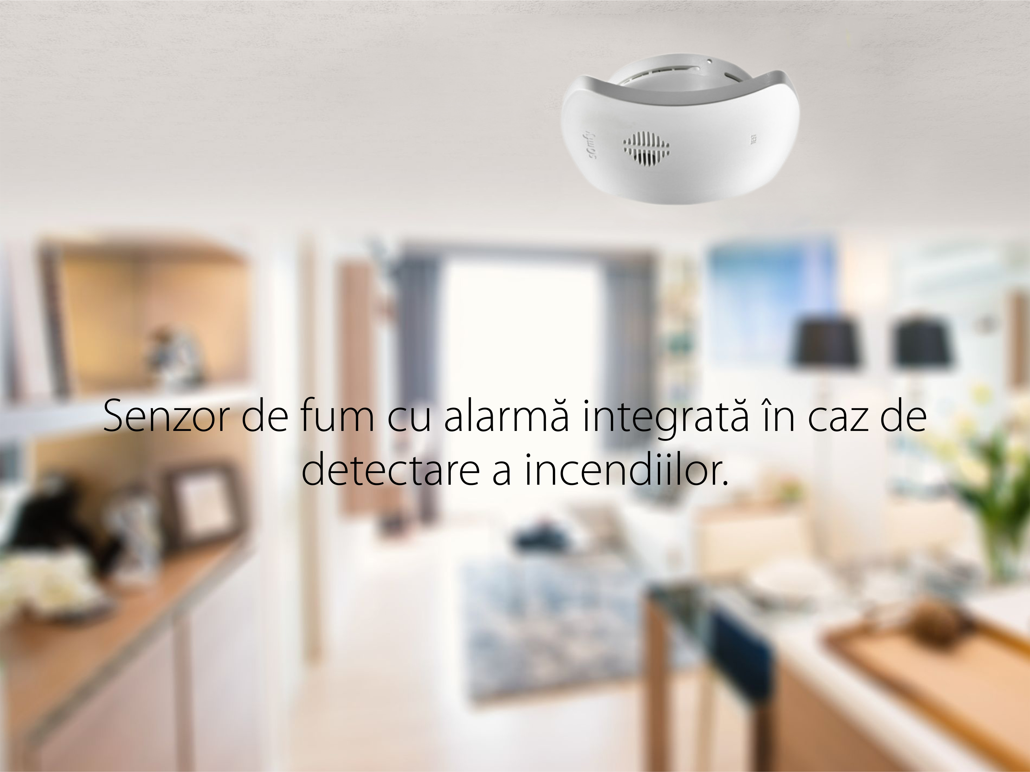 Senzor de fum TaHoma cu Alarma Integrata pentru Detectarea incendiilor, IP20, Frecventa radio 868-870 MHz
