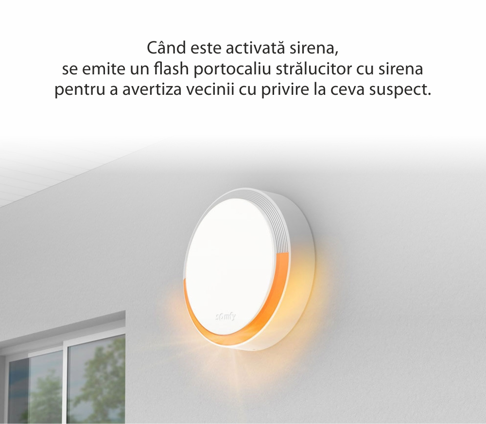 Sirena de exterior Somfy, 112 dB, Compatibil cu Somfy One, One+, Somfy Home Alarm