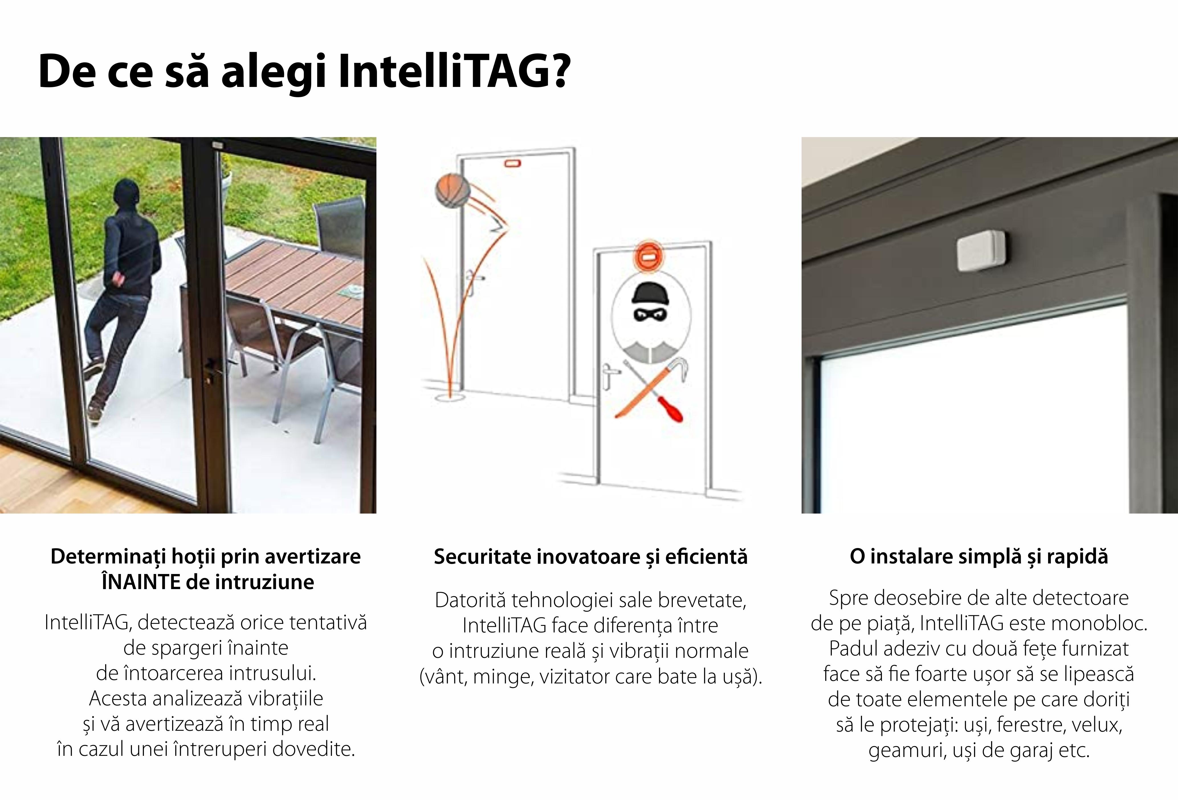 Intellitag™  Senzor pentru usa/fereastra interior sau exterior, Compatibil cu Somfy One, One+, Home Alarm, Pachet 5 bucati