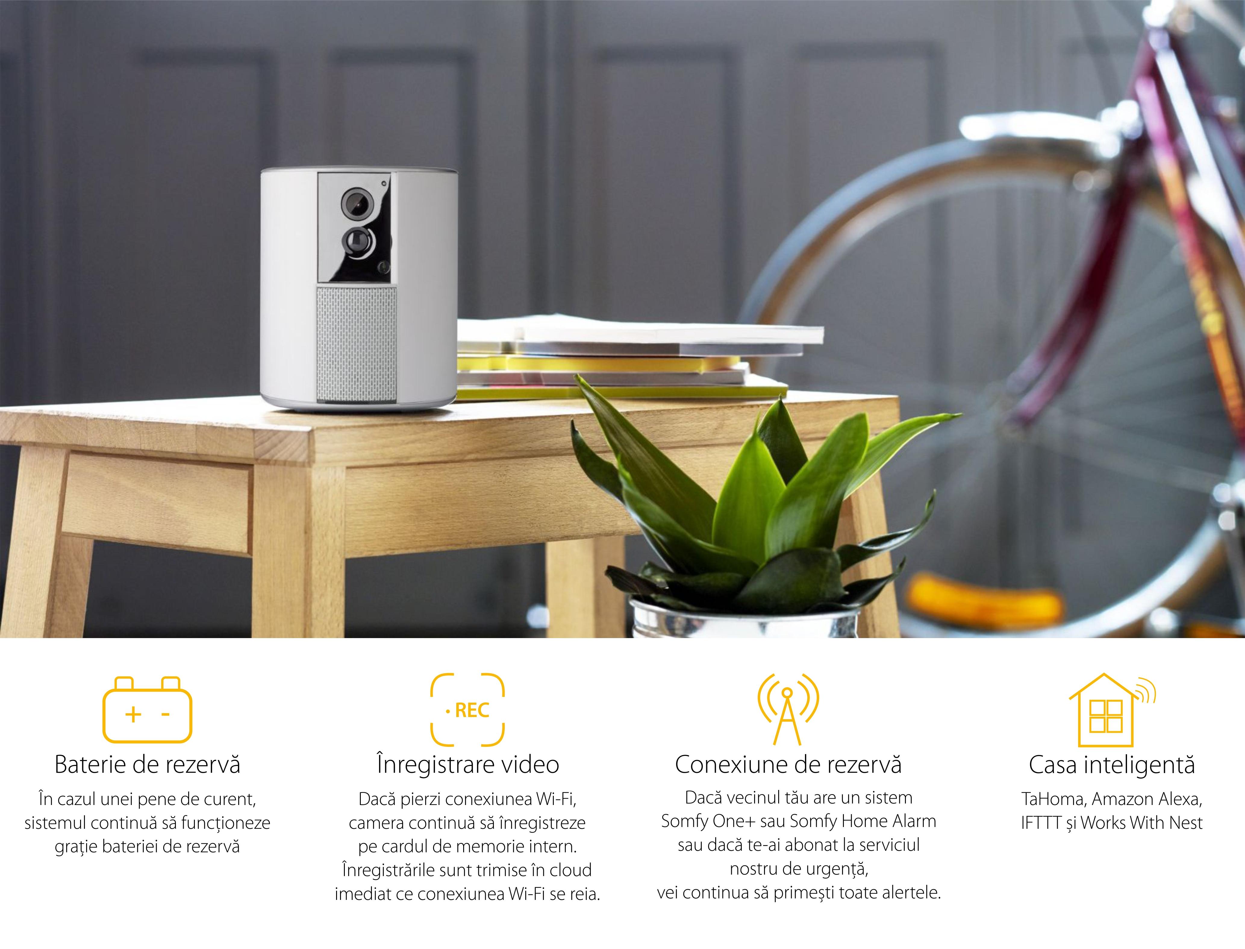 Camera de supraveghere Somfy One+, Full HD, Alarma si Sirena, WiFi, Bluetooth 4.0, Detector de miscare  ( Badge si IntelliTag incluse )