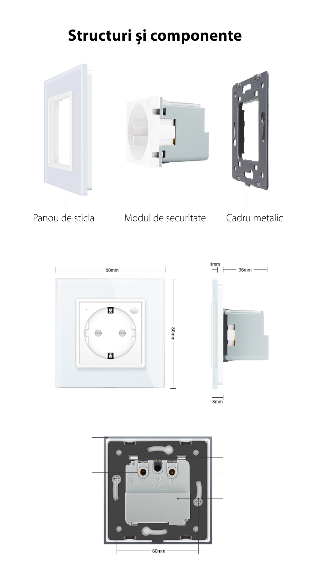 Priza inteligenta pentru perete Livolo ZigBee, Alba, 16A, Wi-Fi, Compatibil cu Alexa si Google Home