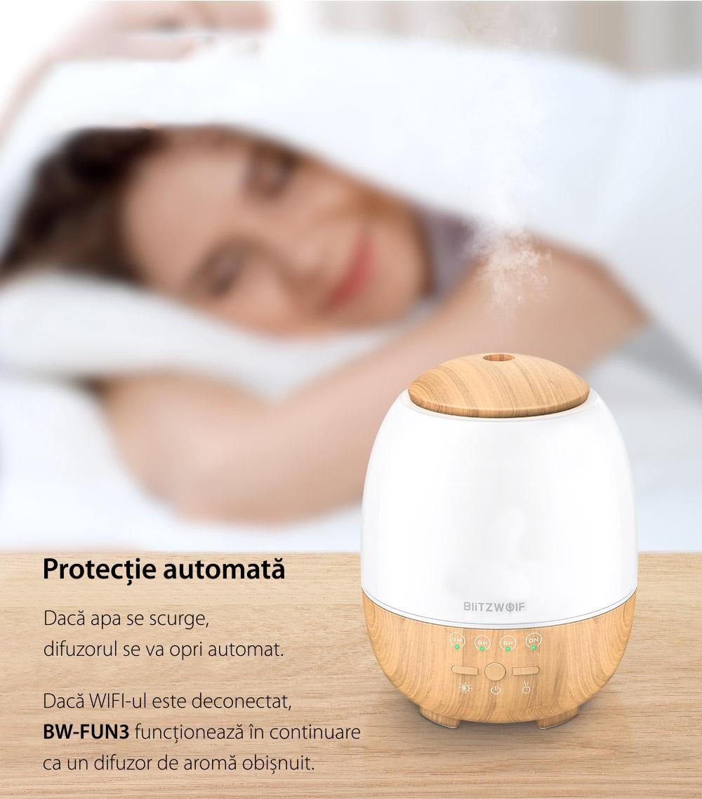 Umidificator cu ultrasunete si lampa LED, BlitzWolf BW-FUN3, Smart, Wi-Fi, 400mL, Compatibil cu Amazon Alexa si Google Assistant