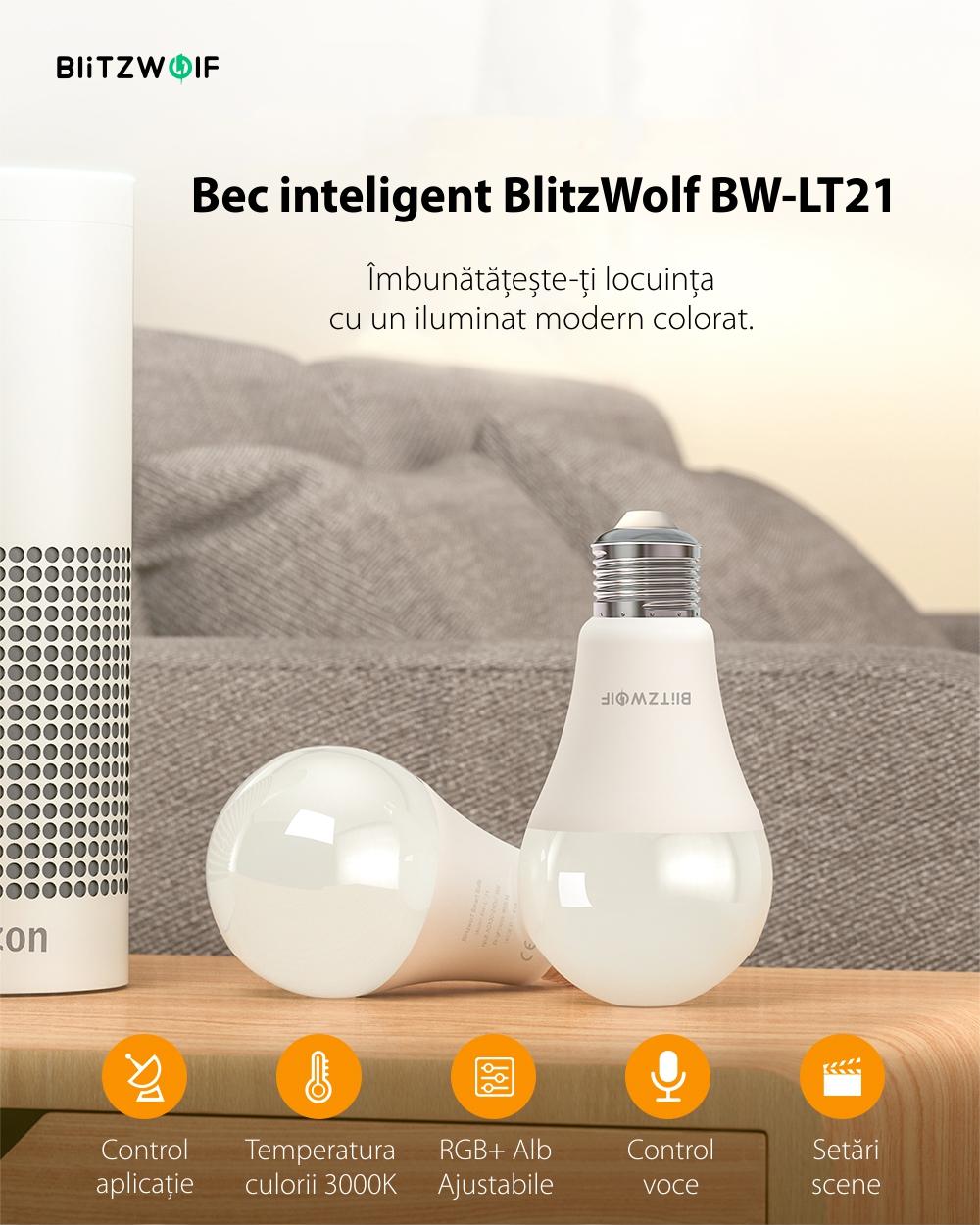Bec Smart LED RGB, BlitzWolf BW-LT21, 10 W, Bulb, 900 LM, 3000K, E27, Comanda vocala