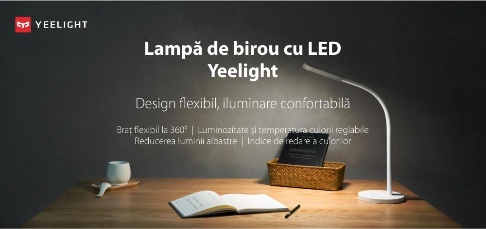 Lampa LED pentru birou, Yeelight YLTD02YL, Alb, 260 LM, Flexibila 360°, Bateria 2000 mAh, Luminozitate reglabila