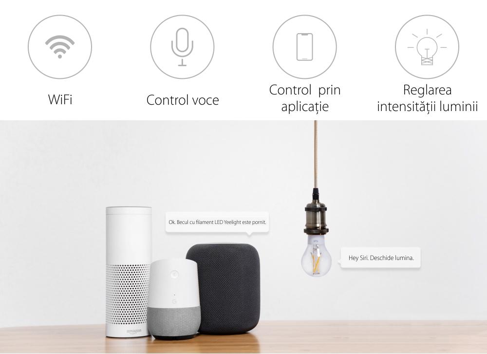 Bec inteligent cu filament LED, Yeelight YLDP12YL, Control smart, 6W, Wi-Fi, 2.4 GHz