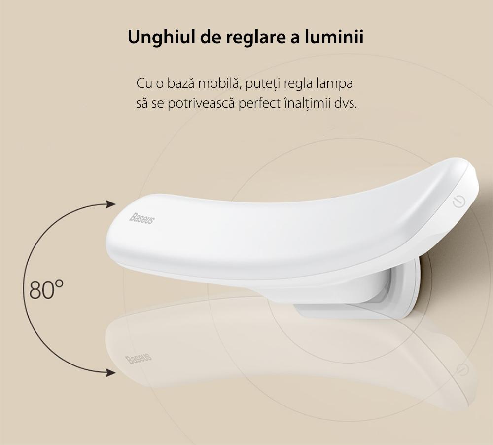 Lampa LED Baseus Sunshine, Dimmer, Lumina alba, 4W, USB Type-C, Baterie 2200 mAh