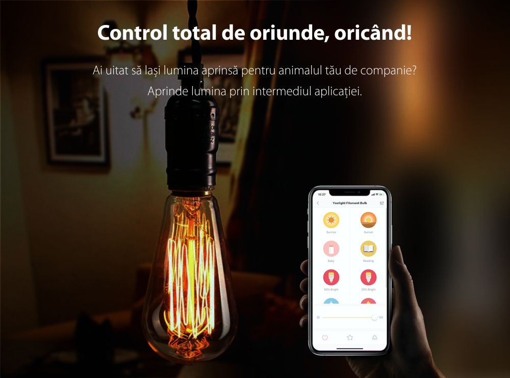 Bec Smart LED Yeelight ST64, Filament, 500 Lumeni, Wireless, E27, Control aplicatie