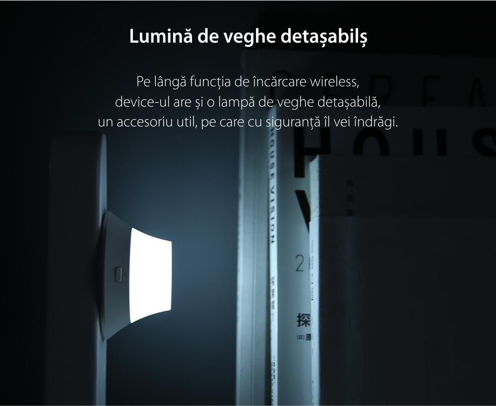Incarcator Wireless, Yeelight YLYD08YI, Alb, Lumina de noapte, Incarcare rapida, 10W, Lampa LED
