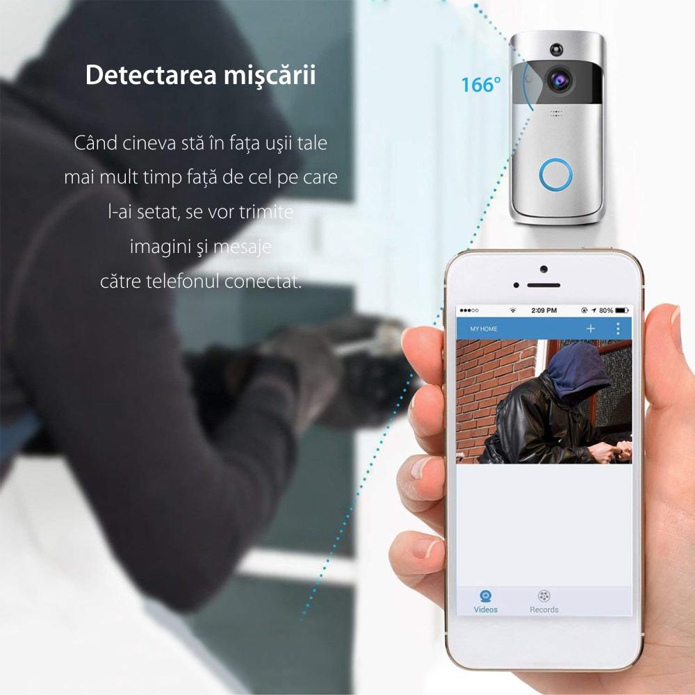 Sonerie inteligenta si camera de securitate Besnt Smart Doorbell BS-M07W, HD, Control la distanta, Comunicare bidirectionala