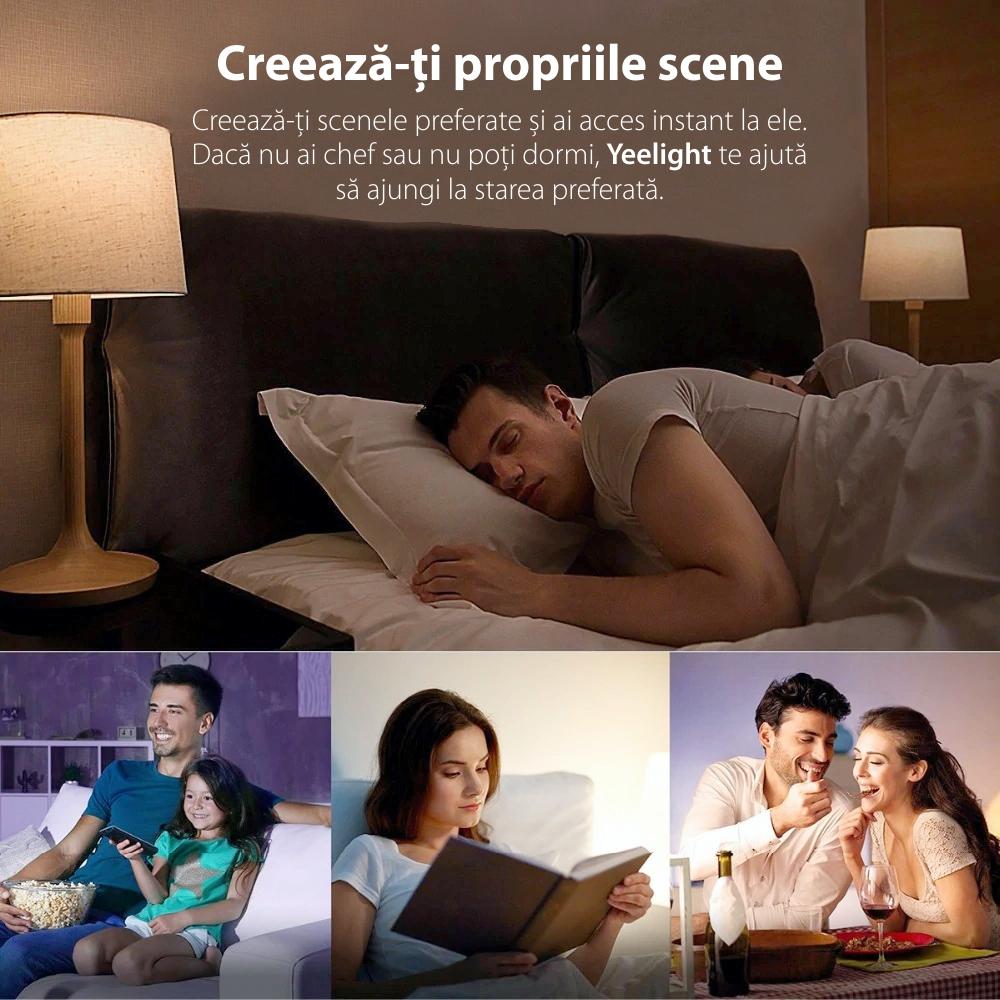 Bec Smart LED Yeelight 1S, Dimabil, Wi-Fi, E27, 800 LM, Comanda vocala, 8.5W