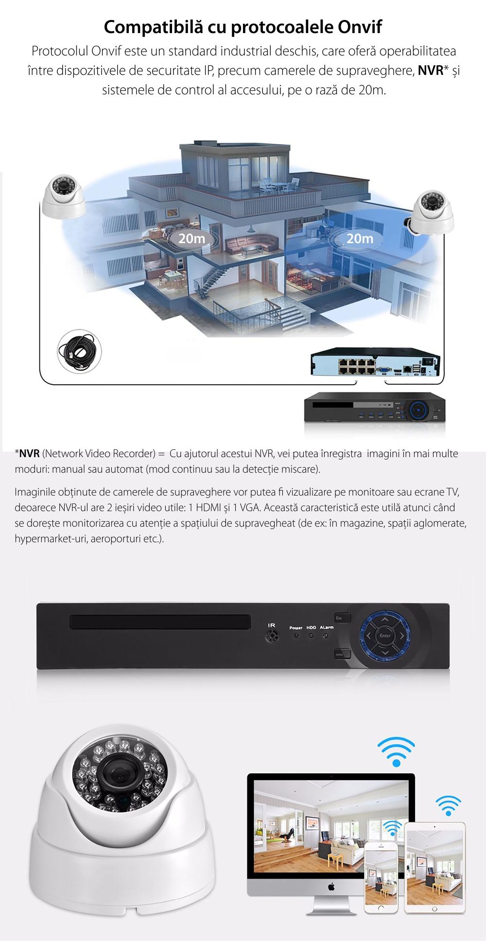 Camera de supraveghere Besnt BS-IP59L, 3MP, 1080p, Monitorizare nocturna, Senzor infrarosu, Notificari pe telefon