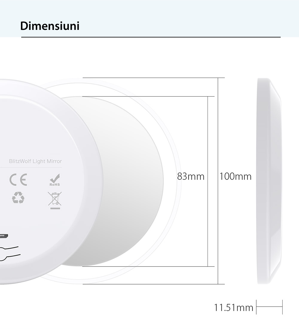 Oglinda LED portabila reincarcabila, BlitzWolf BW-LM1, USB, Baterie 450 mAh