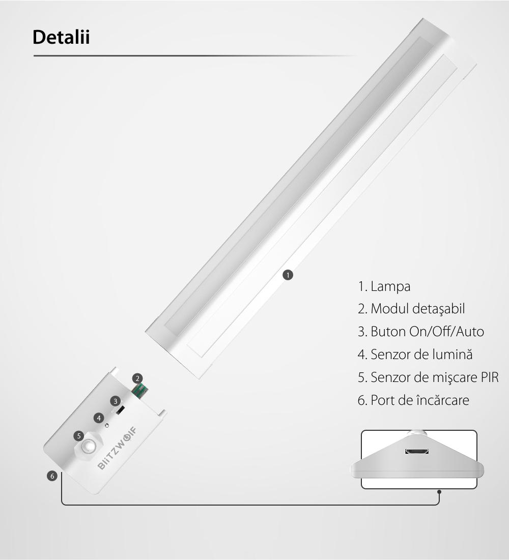 Lampa LED BlitzWolf BW-LT8 , Alb, 85 LM, 3W, Unghi de iluminare de 200°, Senzor de miscare, Baterie 1000 mAh