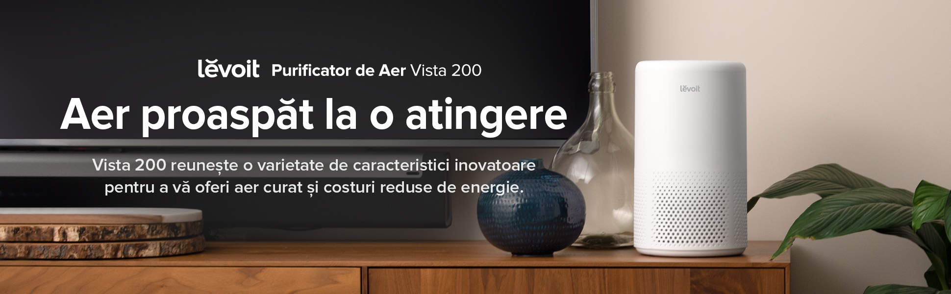 Purificator de aer Levoit Vista 200, Alb, Pet friendly, Filtru True HEPA, Carbon activ, Super silent, Filtrare 99.97%,