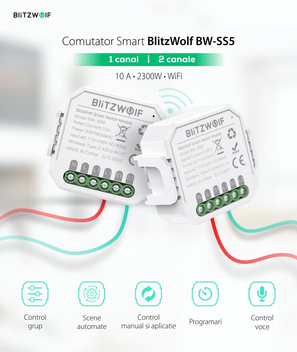 Comutator smart BlitzWolf BW-SS5, 1 Canal, Wi-Fi, Distanta operare 100 m, 2300 W