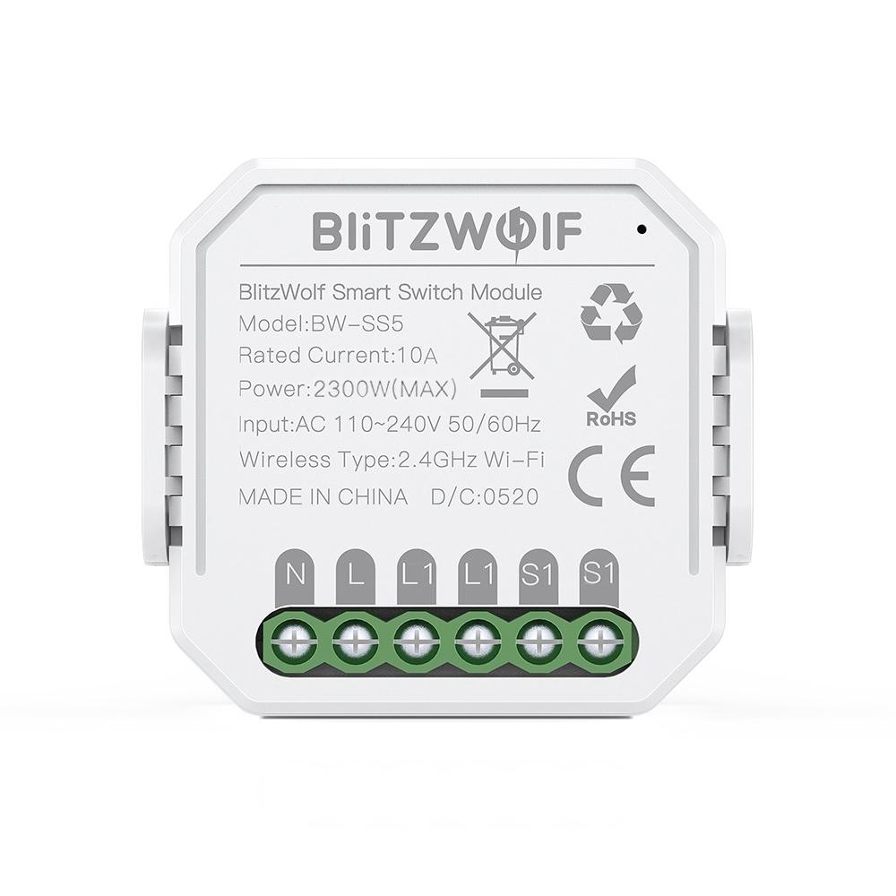 Comutator smart BlitzWolf BW-SS5, 1 Canal, Wi-Fi, Distanta operare 100 m, 2300 W imagine case-smart.ro 2021