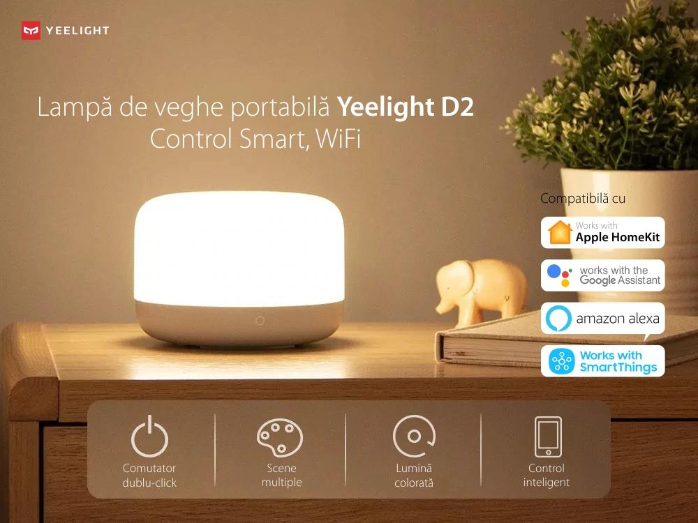 Lampa de veghe portabila Yeelight D2, Alb, Smart, Bluetooth, Ajustare culori