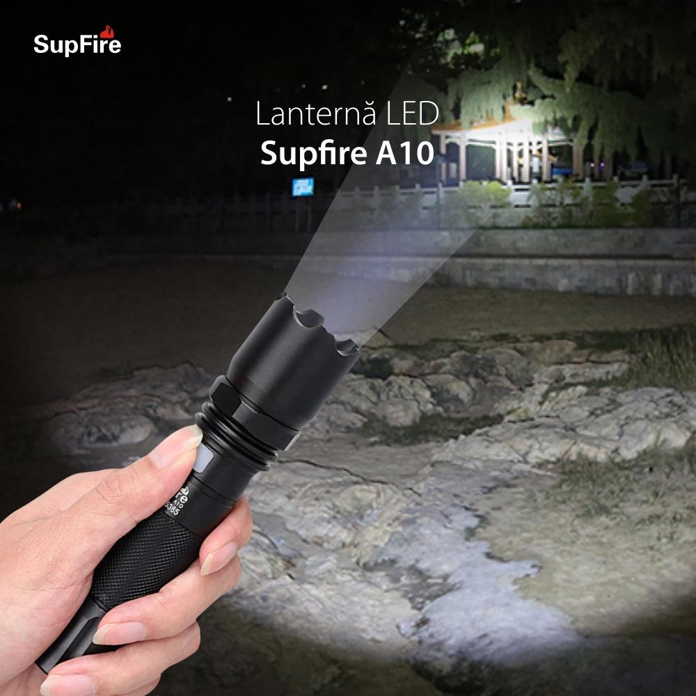 Lanterna LED SupFire A10, Negru, 550 Lm, Raza de actiune 200 m