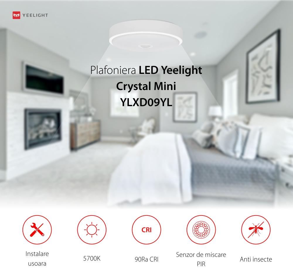Plafoniera LED Yeelight Crystal Mini YLXD09YL, Alb, Temperatura culoare de 5700K, 600 Lm