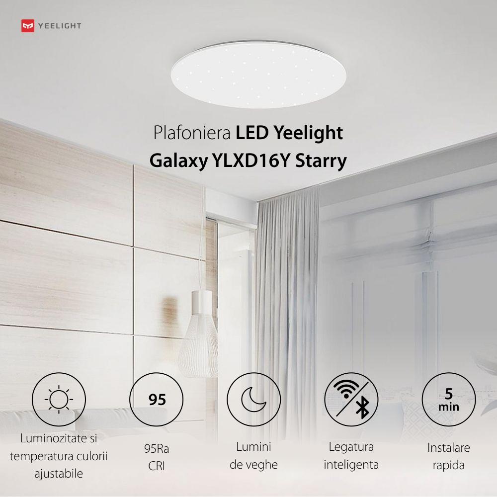Plafoniera LED Yeelight Galaxy YLXD16Y Starry, Wireless, Suprafata luminata 20 m², 2200 Lm