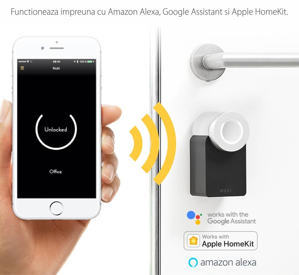 Incuietoare inteligenta Nuki Smart Lock 2.0, Wireless, Bluetooth 4.0, Control aplicatie, Raza detectie 10 m
