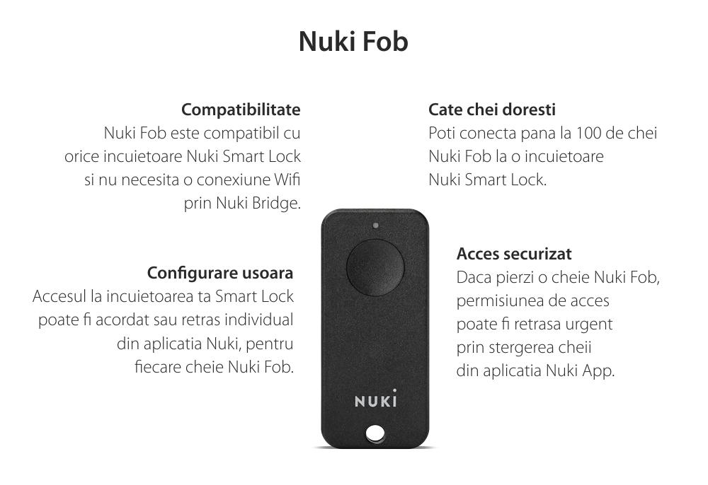 Cheie inteligenta Nuki Fob, Pentru Nuki Smart Lock 2.0, Control de la distanta, Bluetooth 4.0
