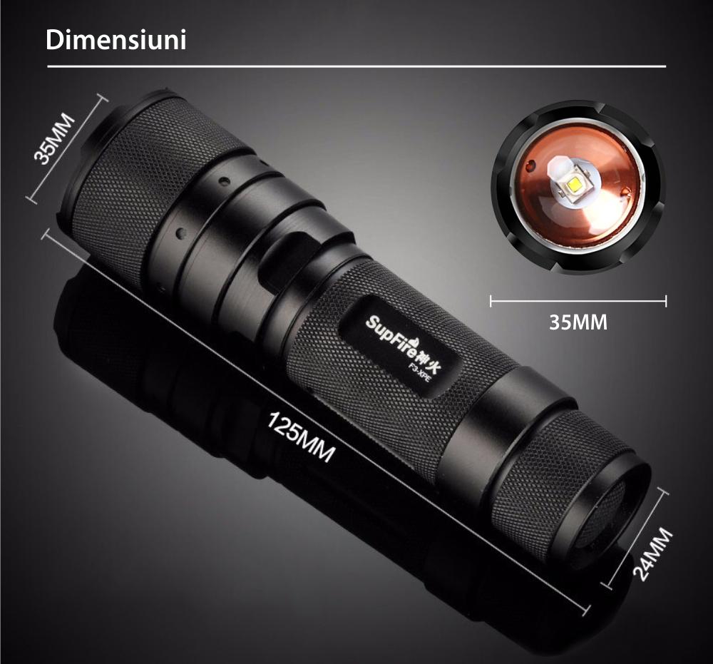 Lanterna LED SupFire F3-XPE, Negru, 300 Lm, 3W, Rezistenta IP44