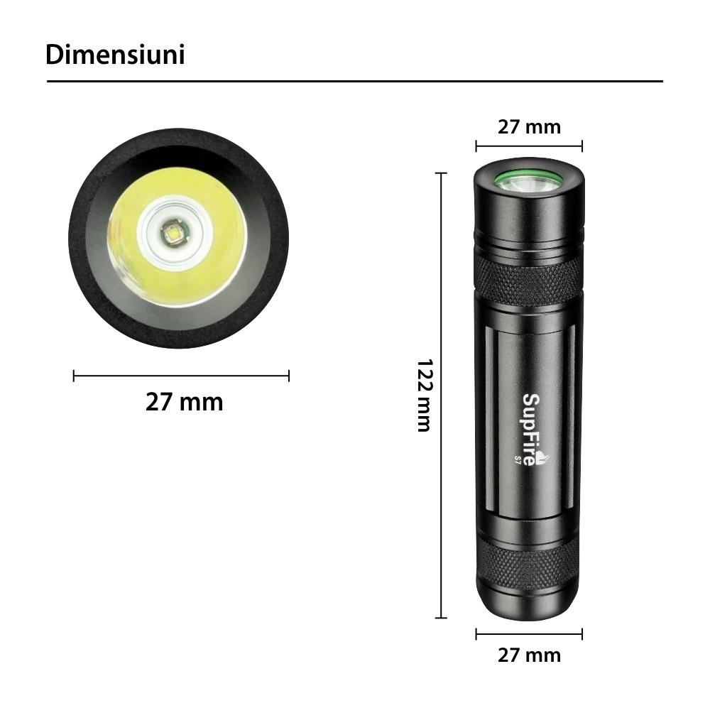 Lanterna LED SupFire S7, Negru, 3 Trepte de intensitate, 300 Lm, 3W, Raza de actiune 100 m