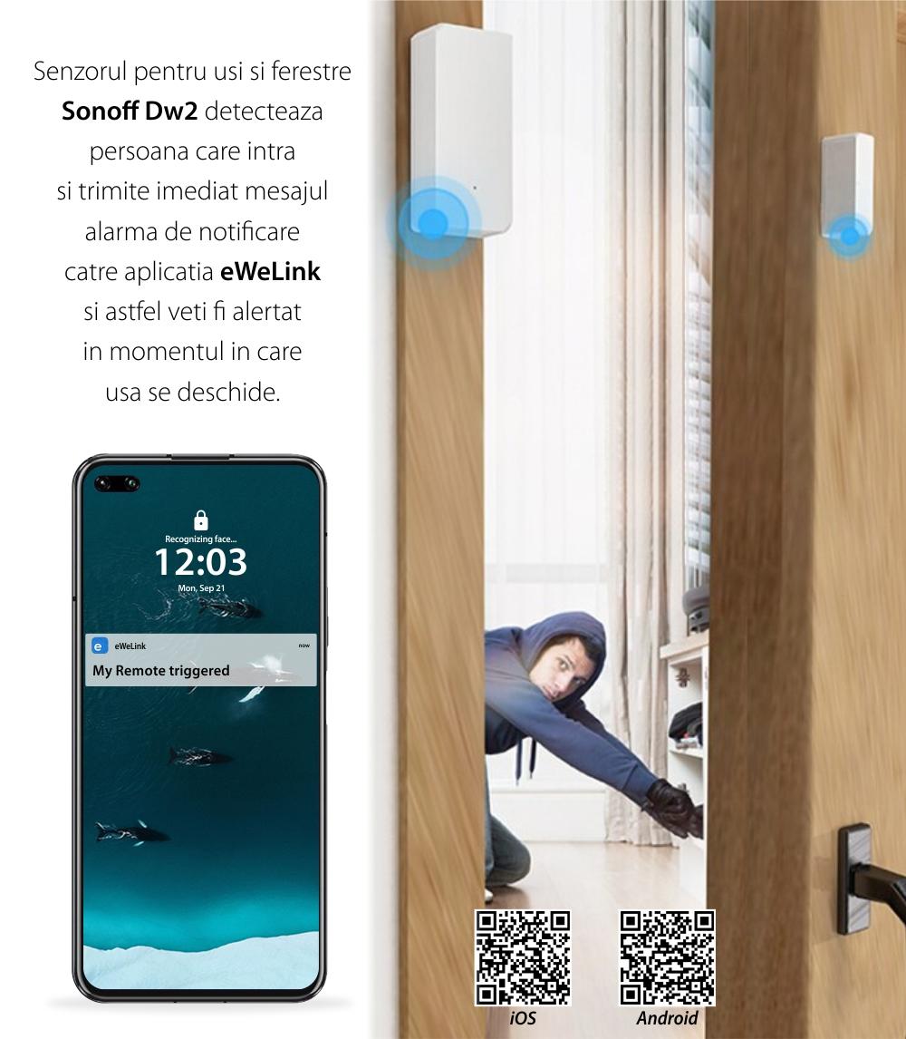 Senzor pentru usi si ferestre Sonoff DW2-RF, Wireless, Notificari aplicatie