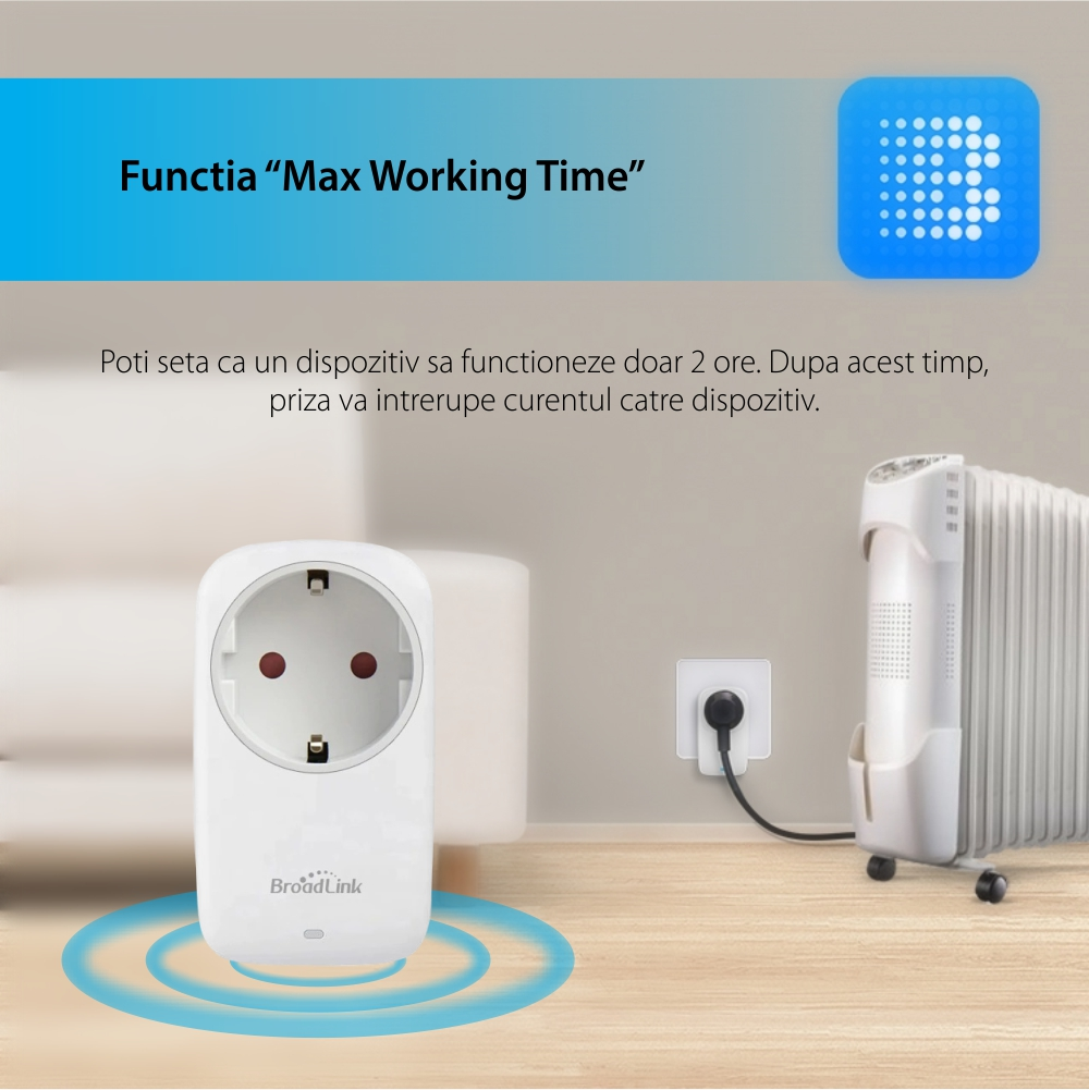 Priza inteligenta BroadLink SP4L-EU, Model 2020, Wi-Fi, 16A, Programabila, Control aplicatie, Lumina de veghe