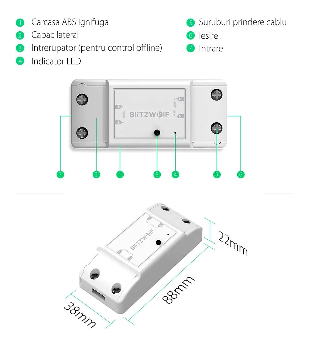 Releu wireless 2 canale, BlitzWolf BW-SS4, Smart, Control aplicatie, 2200W