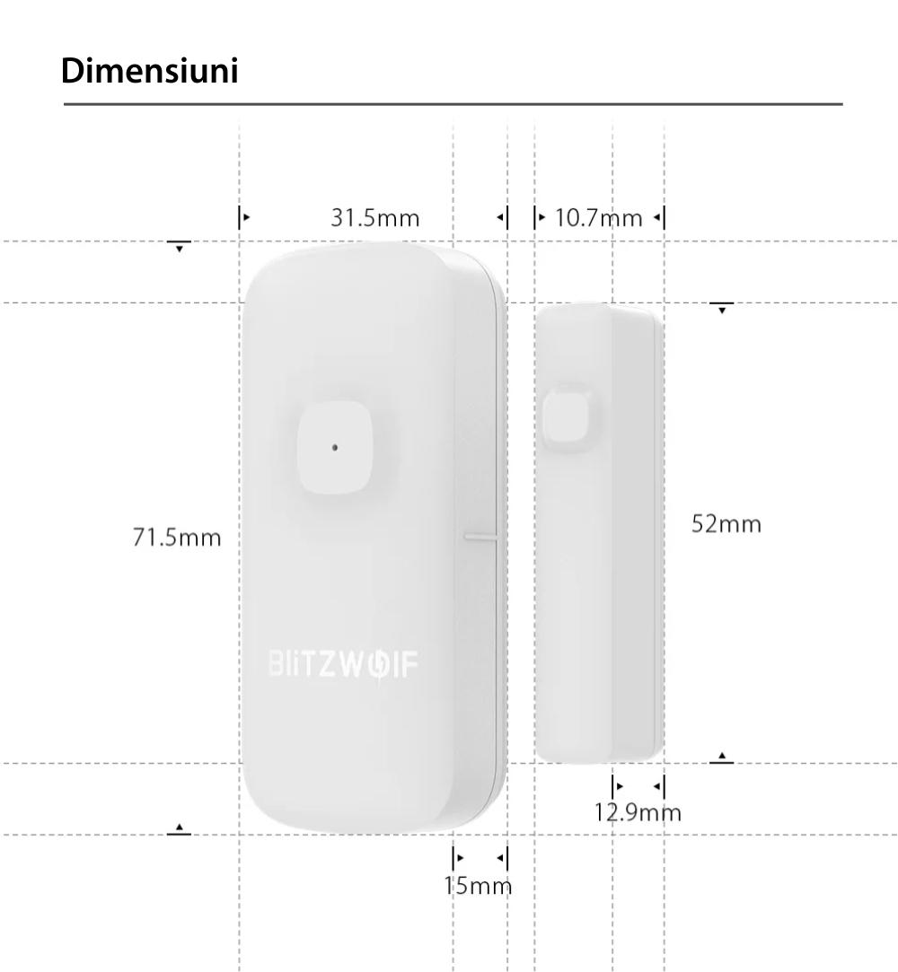Senzor de contact pentru usa / fereastra BlitzWolf BW-IS2, Wi-Fi, Control ZigBee, Baterie 500 mAh