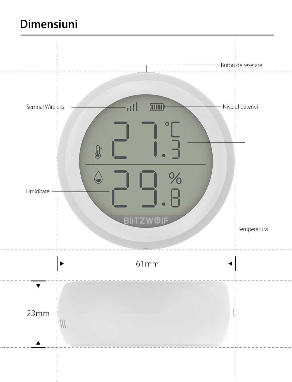 Senzor de temperatura si umiditate BlitzWolf BW-IS4, Wi-Fi, ZigBee 3.0