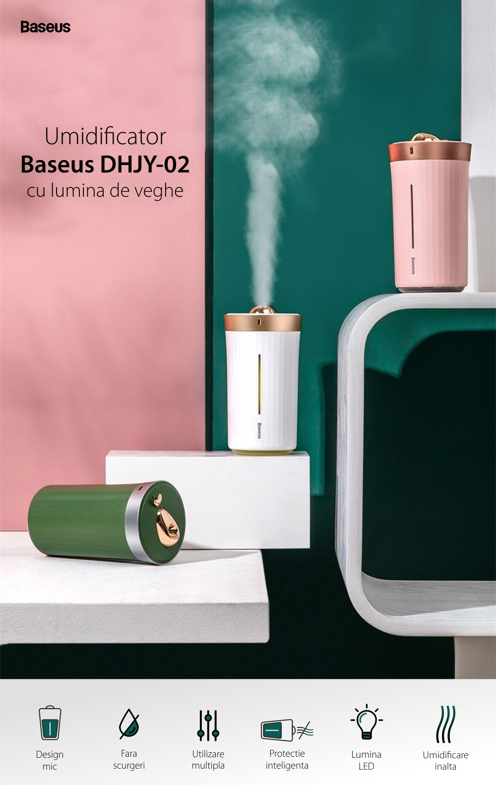 Umidificator cu lumina de veghe Baseus DHJY-02, Pentru masina / casa, Protectie inteligenta, Capacitate 420 mL