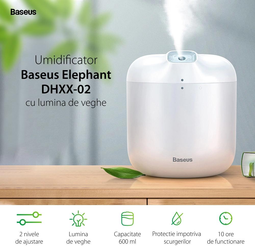 Umidificator cu lumina de veghe Baseus Elephant DHXX-02, Capacitate 600 mL, Ajustare 2 nivele