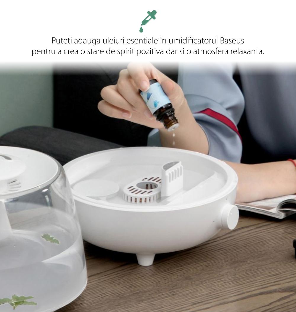Umidificator si difuzor de arome Baseus DHYN-A01, Capacitate 2.4 L, 30 dB, Autonomie pana la 24 ore