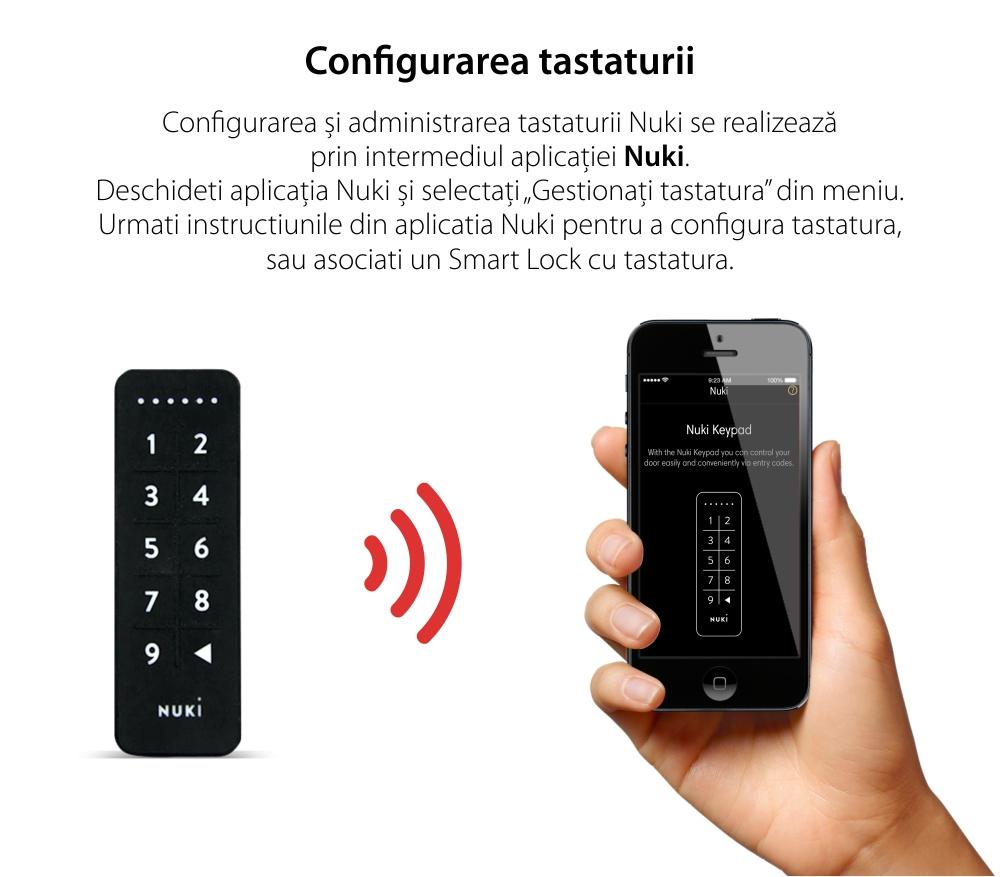 Tastatura inteligenta Nuki Keypad, Bluetooth 5.0, Pentru Nuki Smart Lock 2.0, Operare cod de acces