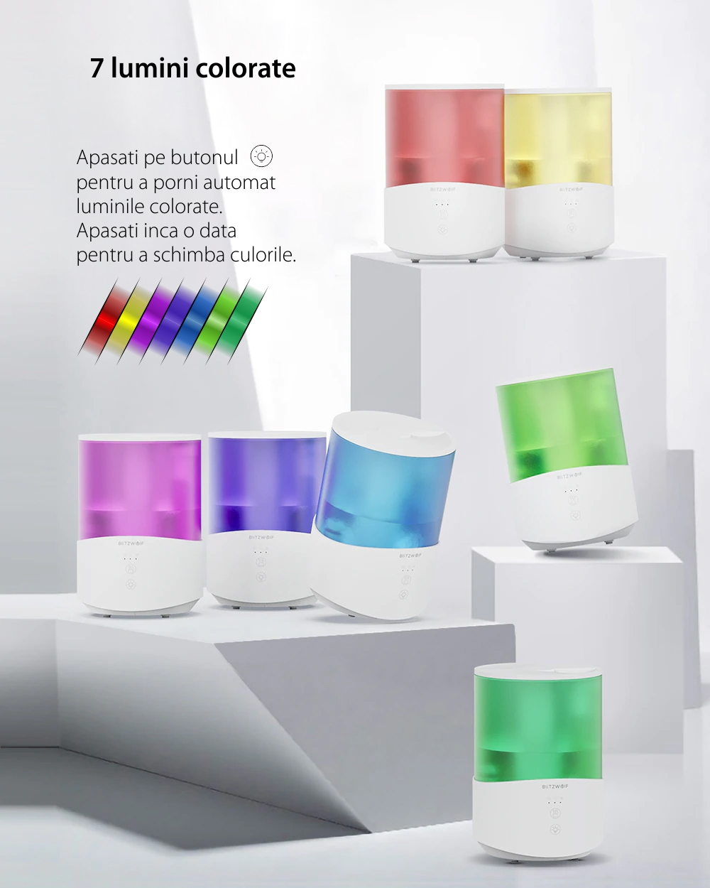 Umidificator si difuzor de arome BlitzWolf BW-SH1, Lumina RGB, Capacitate 2.5 L