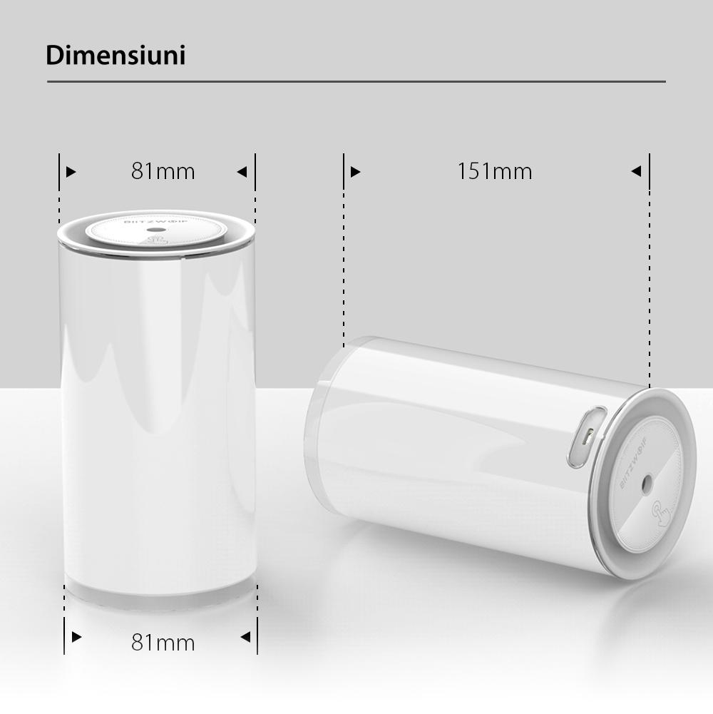 Umidificator ultrasonic cu lampa de veghe BlitzWolf BW-FUN2, Capacitate 400 mL, Luminozitate reglabila