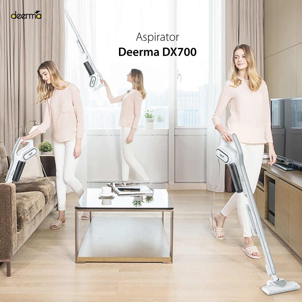 Aspirator vertical Xiaomi Deerma DX700, Alb, Multifunctional, Putere 600 W, Capacitate 800 mL