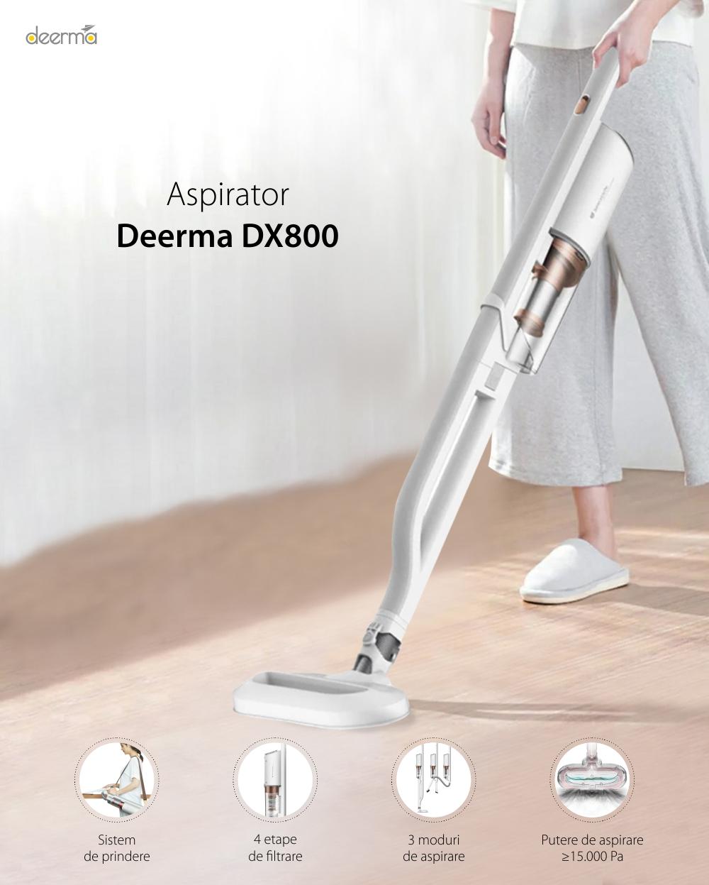 Aspirator vertical Xiaomi Deerma DX800, Alb, Putere 600 W, Capacitate 800 mL, 4 Etape de filtrare