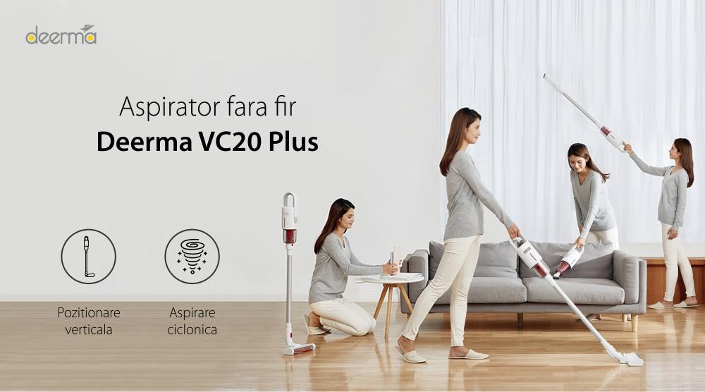 Aspirator vertical Xiaomi Deerma VC20 Plus, Alb, Putere 150 W, Baterie 2200 mAh, Capacitate 600 mL