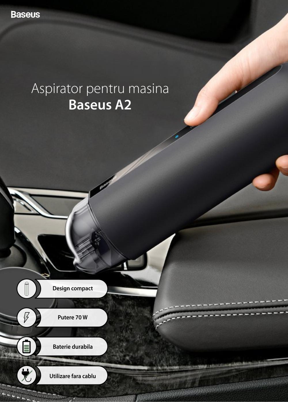 Aspirator auto Baseus Capsule Mini A2, Wireless, Putere 70 W, Timp de lucru 20 min, Incarcare Type-C